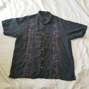 Tommy Bahama Black Embroidered Silk Linen Shirt XL